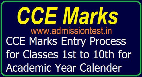 CCE Marks Online Entry Process for Classes 1st to 10th for Academic Year 2019-20