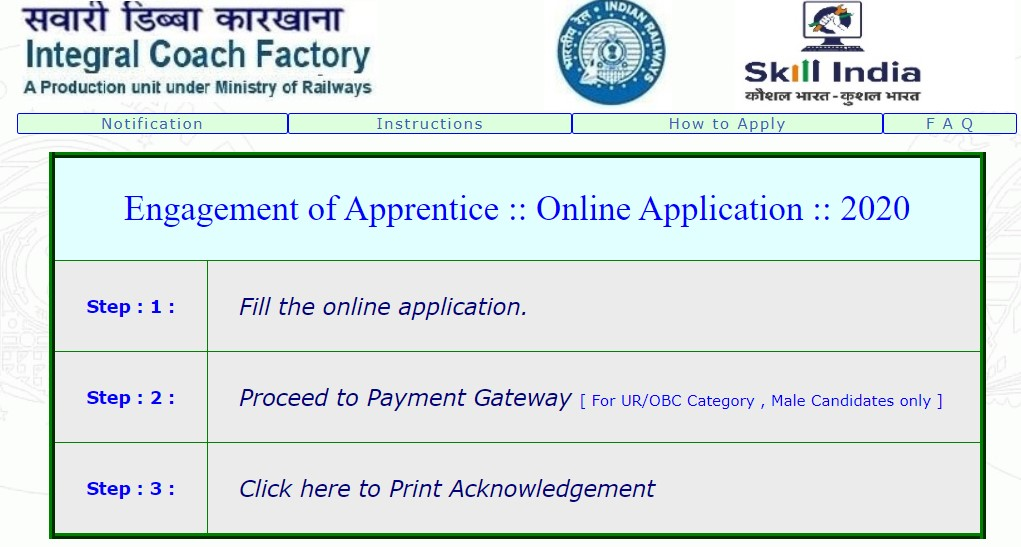 Railway Integral Coach Factory Recruitment 2020 Apply Online Here, Ministry of Railways has published the ICF Railway recruitment notification
