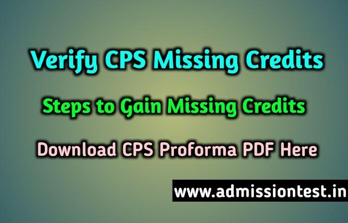 Verify CPS Missing Credits & Steps To Gain CPS Missed Points